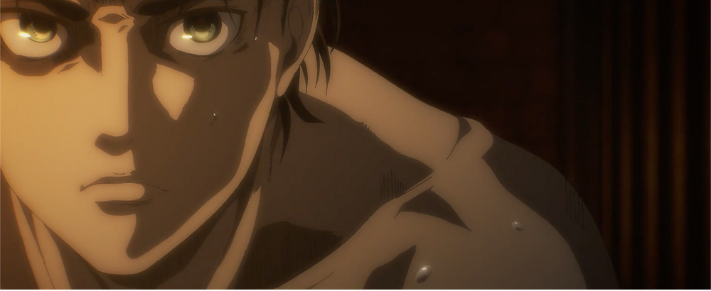 Eren in his prison cell. Nothing but rage in his eyes.
