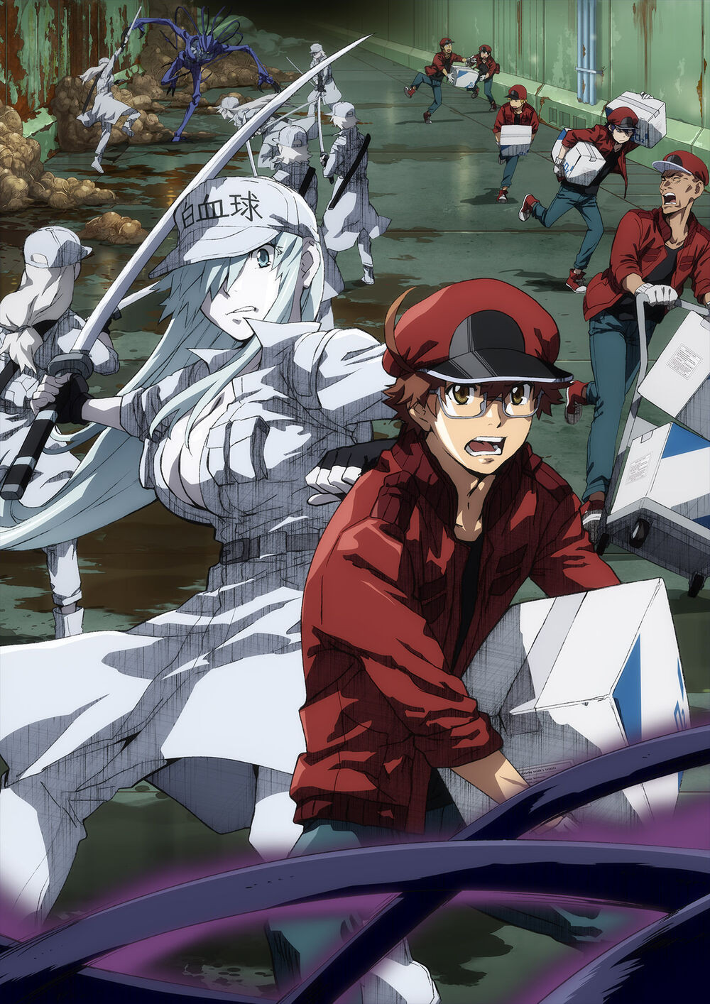 Red Blood Cell AA2153 and White Blood Cell U-1196 off with their tasks