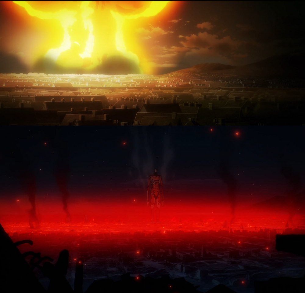 A tumultuous explosion and damage as the Colossal Titan zeroed in