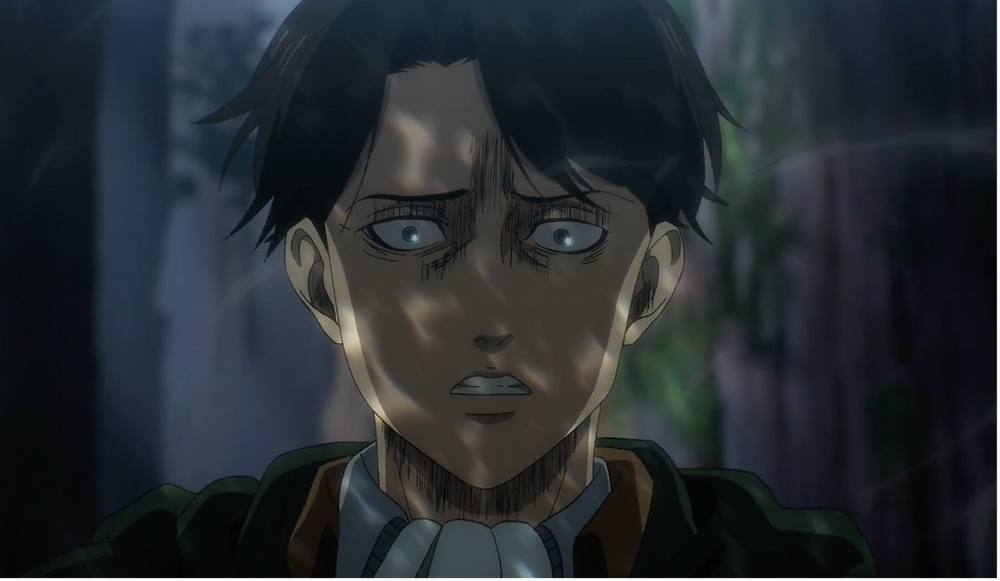 The horror in Levi's eyes!