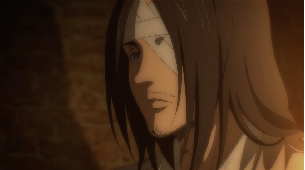 Eren with sadness and misery plastered on his face as he meets Reiner