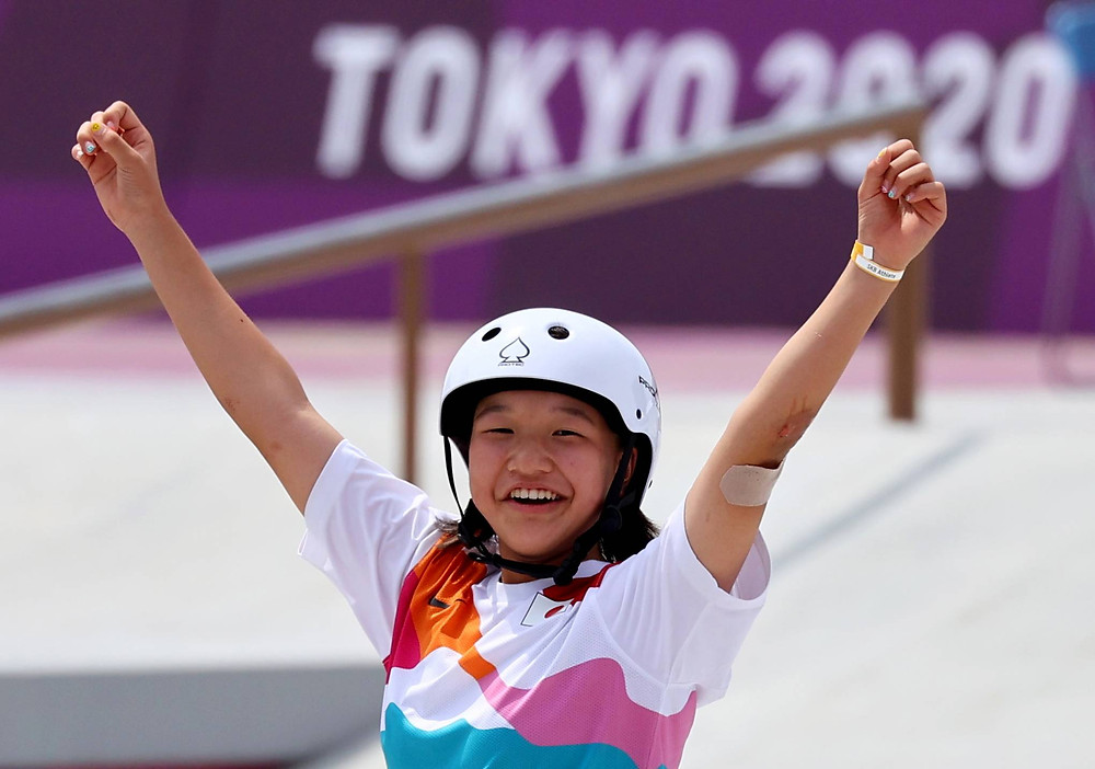 Nishiya smiles after finishing a successful attempt. | (c) CBS News