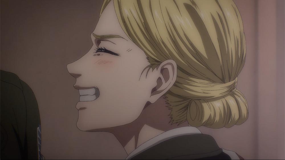 Historia smiles on teasing Mikasa (the last happy memory).