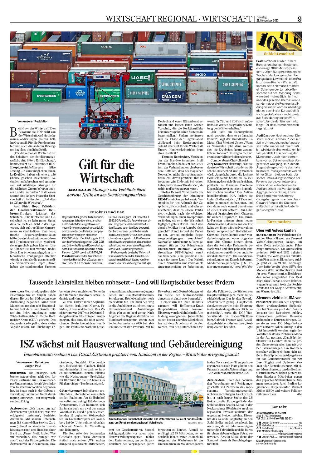 Quelle Heilbronner Stimme Ausgabe 21.11.2017