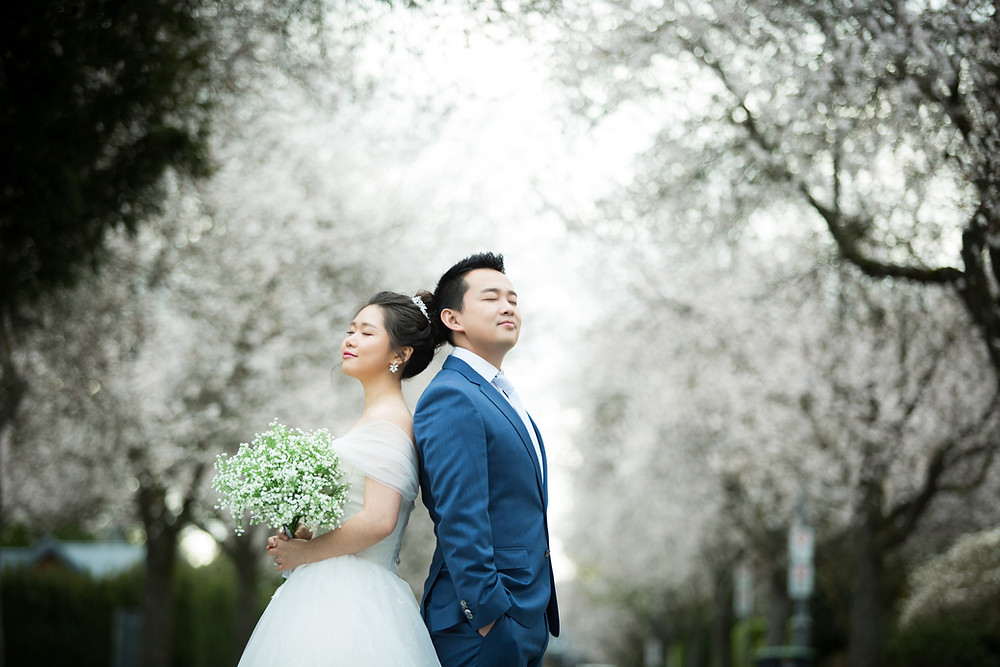 Cherry blossom wedding photo