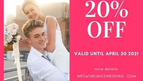 Get 20% off on wedding live stream