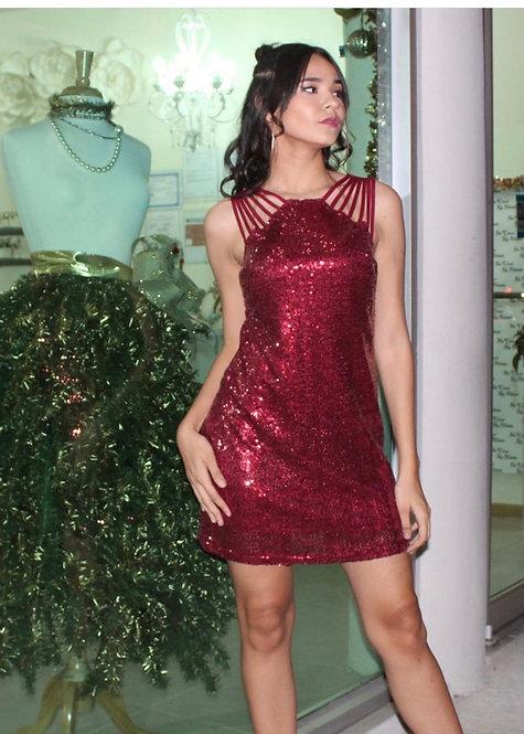 Wine Sequin Dress