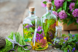 Bottles Of Tincture Or Infusion Of Healing Herbs, Scissors, Medicinal Herbs On Wooden Board. Herbal.