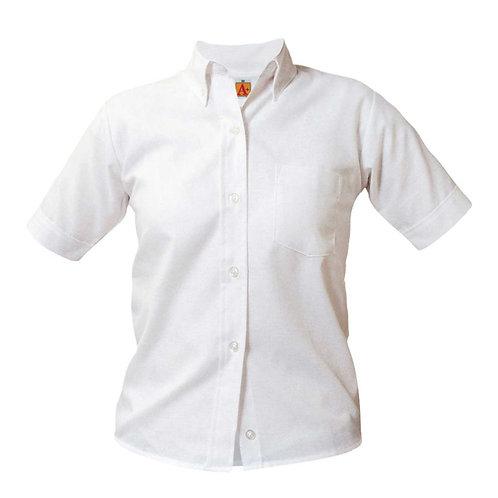 Girls' White Oxford Short Sleeve Blouse