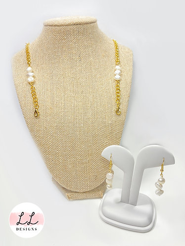 Fresh Water Pearl Face Mask Chain with Earrings