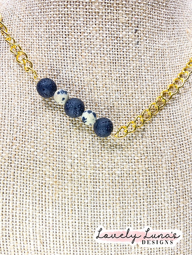 Stone Bead Mask Chain with Lava Stones for Essential Oils