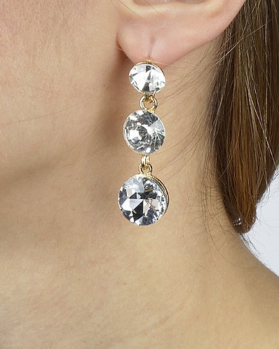 Three-Stone Crystal Drop Earrings