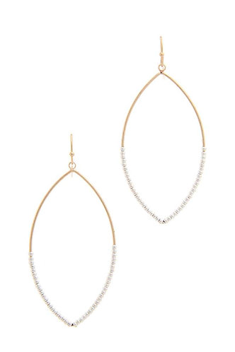 Gold/Silver Beaded Pointed Oval Drop Earring