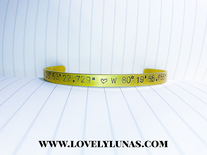 Custom Stamped Coordinate Cuff Bracelet - Adjustable Stacking Cuff Bangles