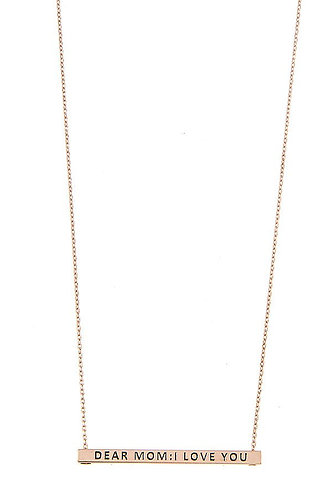 Dear Mom I Love You Bar Necklace