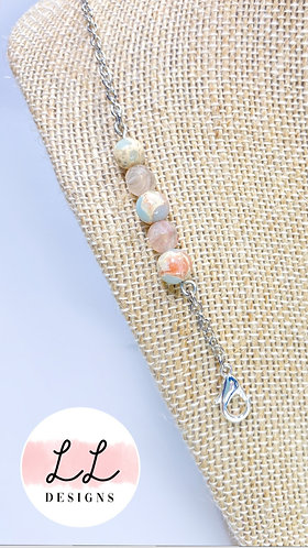 Blue Beige & Pink Marble Stones w/ Tiffany blue hints Mask Chain
