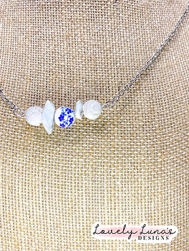 Blue And White with Lapis Beads & Lava Stones for Essential Oils Mask chain