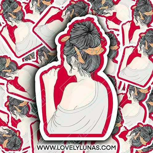 Girl with a messy bun-Sticker