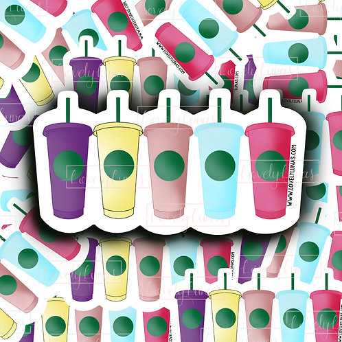 Colorful cups -Sticker
