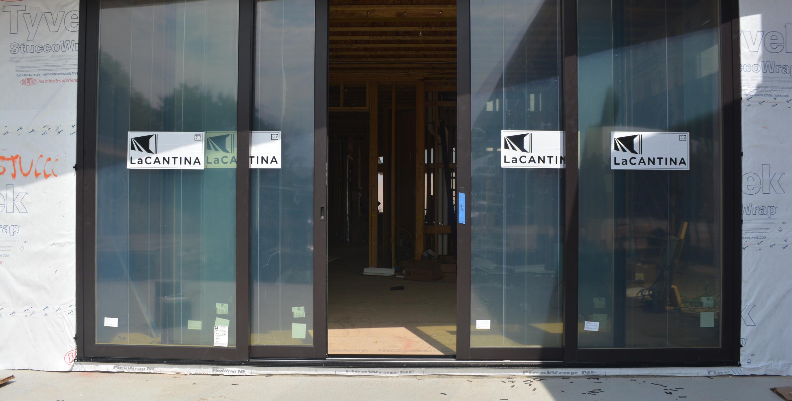 LaCantina Door installed with doors partway open