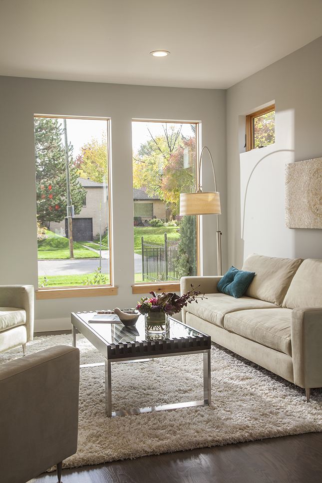 Andersen E-Series window with Auxillary frame and modern dry wall return.