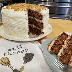 Carrot cake with spiced cream cheese frosting