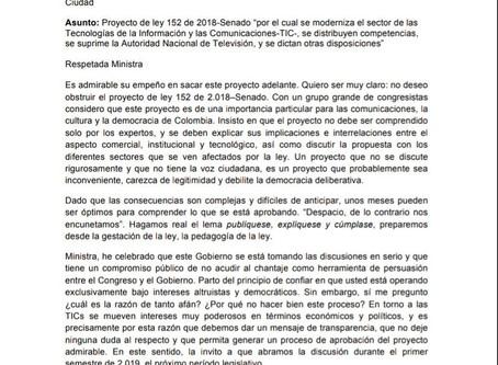 CARTA A MINISTRA DE LAS TIC.