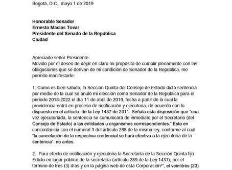 CONSTANCIA A LA PRESIDENCIA DEL SENADO.