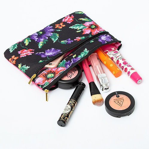 Floral Make Up Pouch with crochet flower brooch