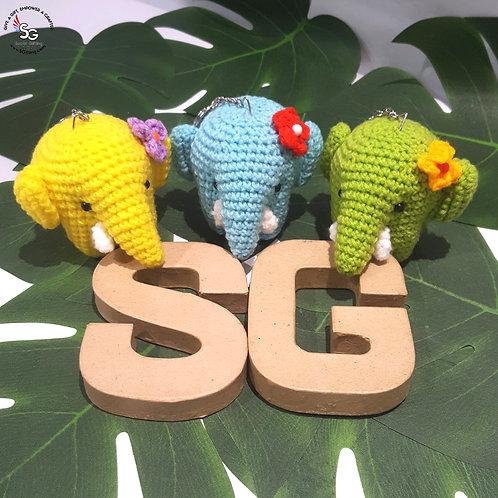 Hand Crocheted Elephant Key Ring