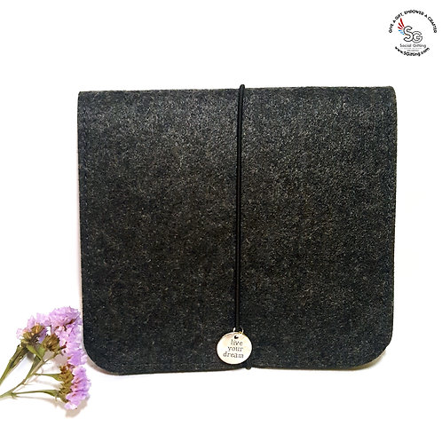 Dark Grey Felt Pouch for Cables
