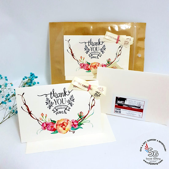 Thank You Card With Inspirational Ribbon - Floral