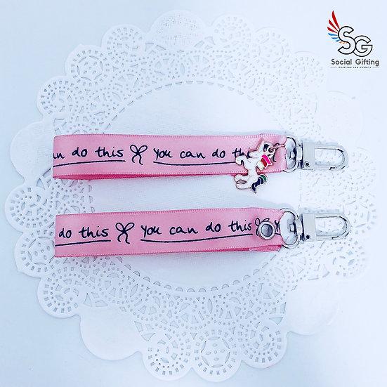 Inspirational ribbon key ring with unicorn charm