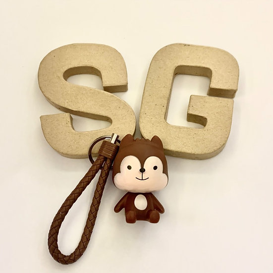 Squirrel Leather Key Ring with Motivational Charm