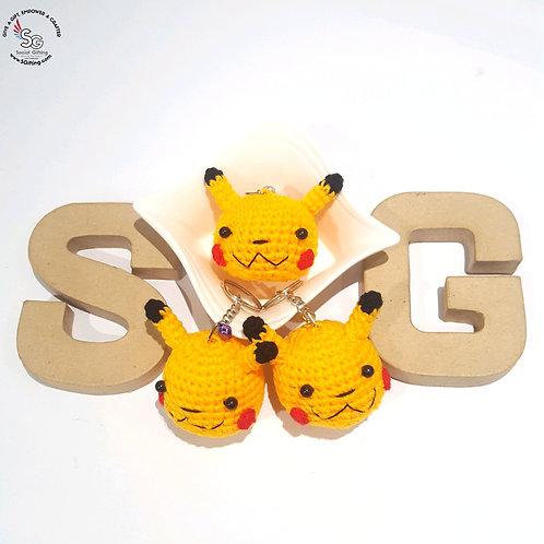 Hand Crocheted Pikachu Key Ring