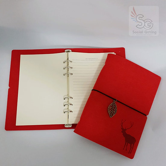 A5 Refillable Felt Journal (Red with blank pages)