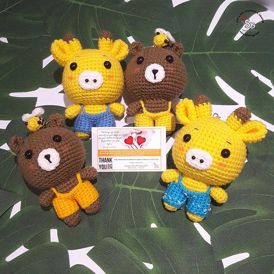Hand Crocheted Giraffe and Bear with Bee Key Ring