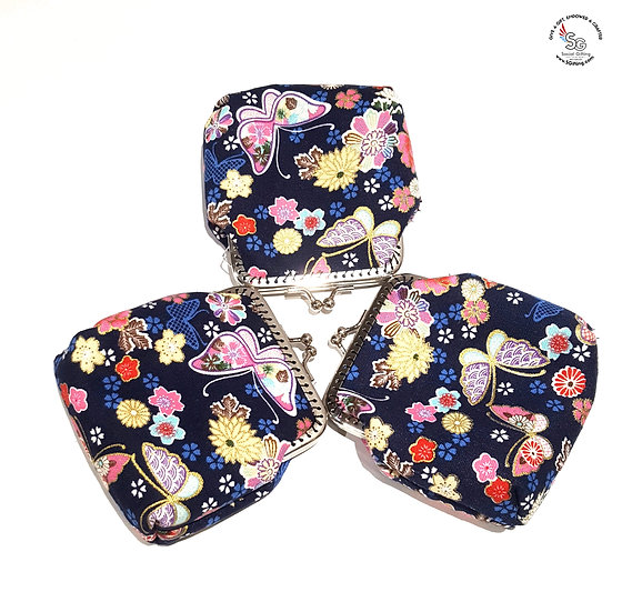 Handsewn Coin Purse with Clasp in Oriental Butterflies