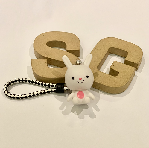 Bunny Leather Key Ring with  Motivational Charm