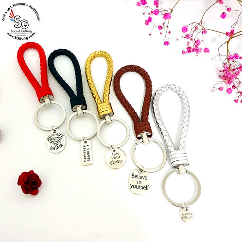 Weave Leather Key Ring with Motivational Charm