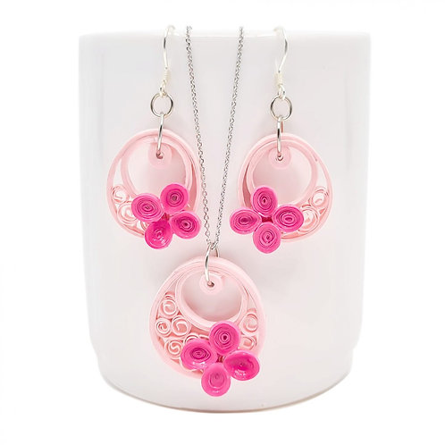 PINK SONATA SET (Earrings and Necklace)