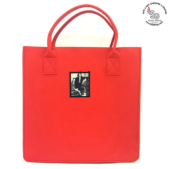 Felt Large Tote Bag with Iron-on patch