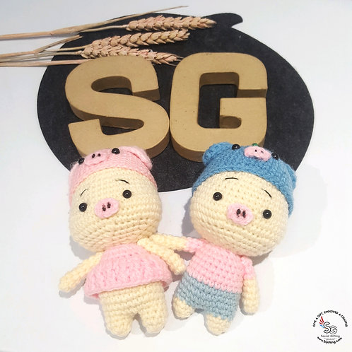 Hand Crocheted Couple Keyring