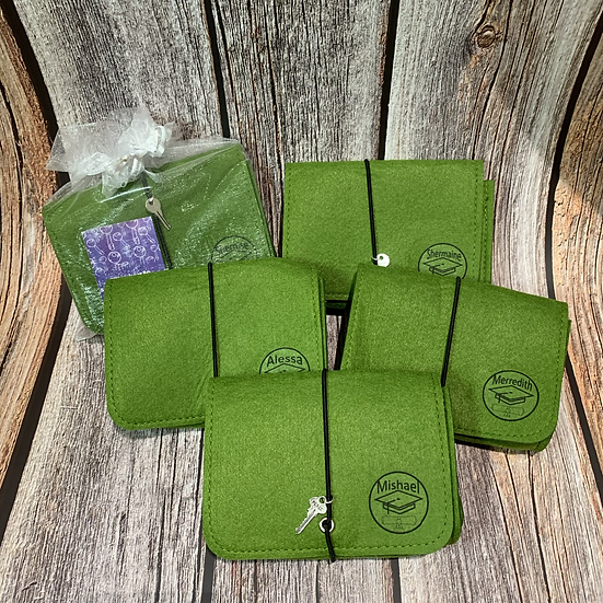 Key To Success Felt Pouch for Cables (Light Grey & Green)