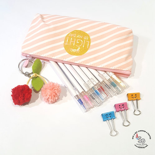 Pencil Case with Cherry Key Chain