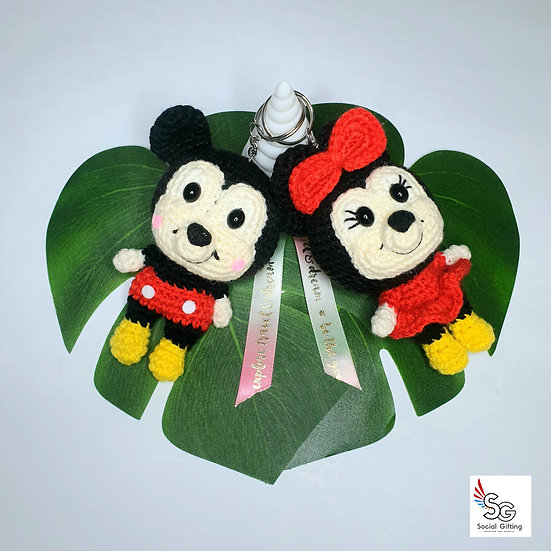 Hand Crocheted Mickey and Minnie Couple Key Ring