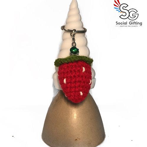 Crochet Strawberry Keychain