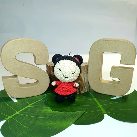 Hand Crocheted Pucca Doll