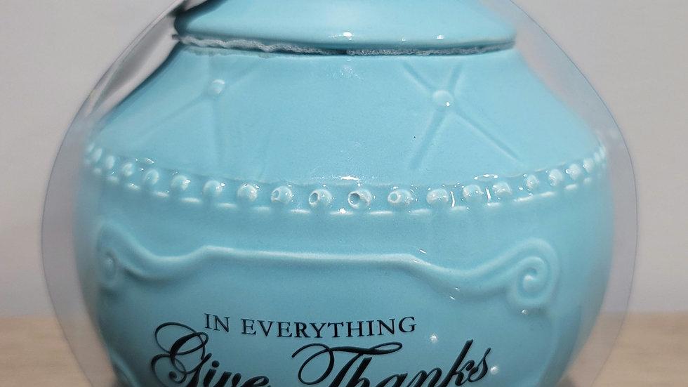 LIGHT BLUE GLASS JAR