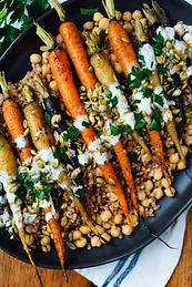 Roasted Carrot farro and chickpeas with